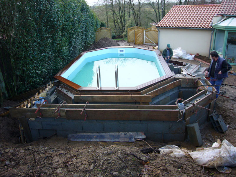 Nos cr ations traineau paysagiste for Amenagement piscine hors sol terrasse